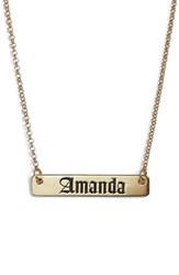 Argentovivo 'S Argento Vivo Personalized English Font Bar Necklace Silver