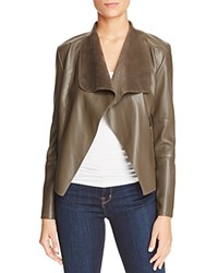 Bagatelle Draped Faux Leather Jacket Olive