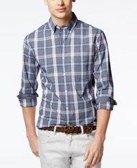 Club Room Men's Wentworth Plaid Contrast Trim Shirt Only At Macy's Navy Blue