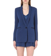 Sandro Diamond Pattern Brocade Blazer Blue
