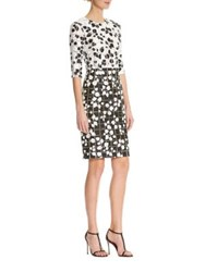 Carolina Herrera Leaf Print Panel Tweed Dress White Black
