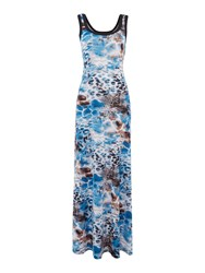 Simon Jeffrey Printed Vest Maxi Dress Blue