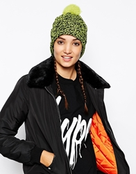 Brave Soul Cable Knit Beanie Hat With Pom Pom Neonyellow