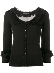 Dolce And Gabbana Frill Trimmed Cardigan Black