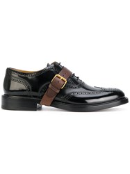 Valentino Buckle Strap Derbys Shoes Calf Leather Leather Black
