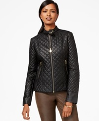 Inc International Concepts Faux Leather Quilted Jacket Black