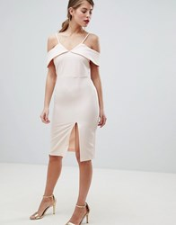 Oasis Cold Shoulder Bodycon Midi Dress Beige