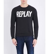 Replay Brand Logo Cotton Jersey Sweatshirt Blackboard
