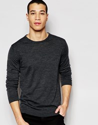 Selected Knitted Crew Neck Jumper In Merino Wool Grey