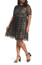 London Times Plus Size Women's Illusion Lace Fit And Flare Dress Black