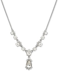 Givenchy Teardrop Crystal Lariat Necklace Silver