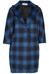 Thakoon Checked Felt Coat Blue