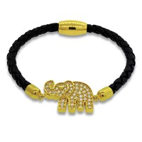 Liza Schwartz Jewelry Lucky Elephant Leather Bracelet Variousgold