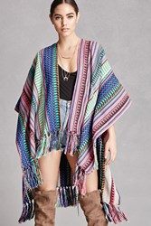 Forever 21 America And Beyond Fringe Shawl Blue Pink