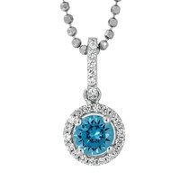 Jools By Jenny Brown Sterling Silver Cubic Zirconia Round Pendant Ocean Blue