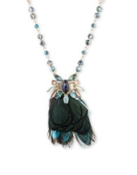 Lonna And Lilly Beaded Feather Pendant Necklace Blue