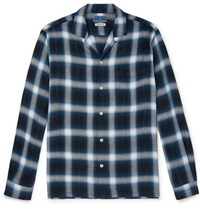 Blue Blue Japan Camp Collar Checked Flannel Shirt Navy