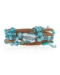 Greenbeads By Emily And Ashley Beaded Multi Wrap Bracelet With Cabochons And Rhinestones Turquoise Brown