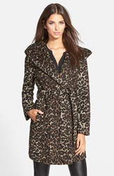 Steve Madden Leopard Print Hooded Wrap Coat Brown
