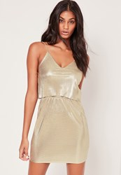 Missguided Layered Pleated Shift Dress Gold Gold