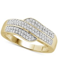 Macy's Diamond Statement Ring 1 4 Ct. T.W. In 14K Gold Plated Sterling Silver Yellow Gold