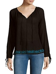 Loveshackfancy Solid Embroidered Peasant Blouse Black