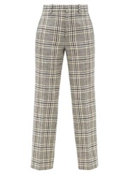 Gucci Checked Wool Blend Straight Leg Trousers Blue White