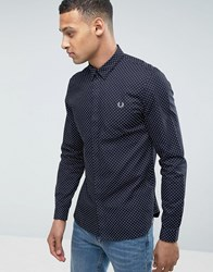 Fred Perry Polka Dot Long Sleeve Shirt In Navy Navy