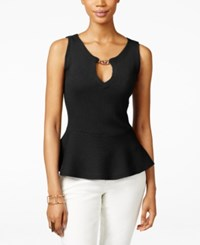 Inc International Concepts Petite Sleeveless Hardware Peplum Top Only At Macy's Deep Black