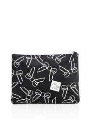 Saks Fifth Avenue Large Saffiano Faux Leather Bow Pouch Black White