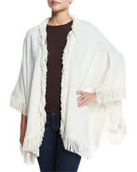 Derek Lam 10 Crosby Wool Blend Shawl W Fringe Black