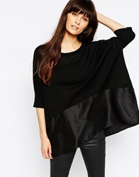 Paisie Knitted Jumper With Silk Panel Black