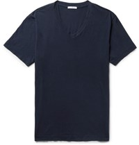 James Perse Slim Fit Combed Cotton Jersey T Shirt Navy