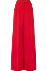 Antonio Berardi Wool Blend Crepe Wide Leg Pants Red