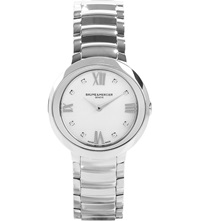 Baume And Mercier M0a10158 Promesse Stainless Steel And Diamond Watch White