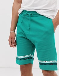 Tommy Jeans Sweat Short With Leg Taping In Green