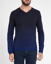 Ikks Navy Blue Black Tricolour Round Neck Sweater