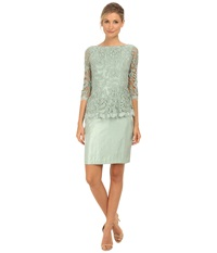 Adrianna Papell Floral Embroidery Peplum Dress Celadon Women's Dress Green