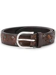 Orciani Floret Hand Painted Belt Brown