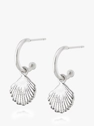 Daisy London Isla Shell Hoop Drop Earrings Silver