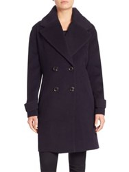Derek Lam Double Breasted Wool Blend Coat Navy