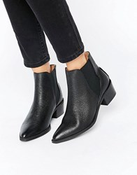 Selected Femme Lena Black Leather Grained Ankle Boots Black