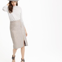J.Crew Zip Front Pencil Skirt In Sparkle Tweed