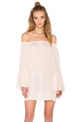Indah Kamani Off The Shoulder Mini Dress Beige