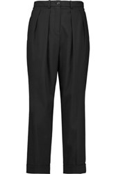Michael Kors Collection Stretch Wool Straight Leg Pants Black