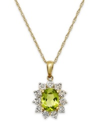 Macy's Peridot 1 3 8 Ct. T.W. And Diamond Accent Pendant Necklace In 14K Gold