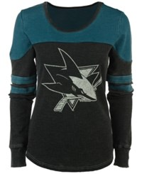G3 Sports Women's San Jose Sharks Hat Trick Thermal Long Sleeve T Shirt Black Teal