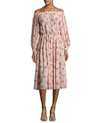 Alexis Tilia Floral Print Off The Shoulder Midi Dress Pink