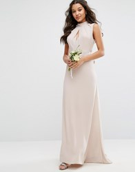 Tfnc Wedding High Neck Maxi Dress With Bow Back Wisper Pink