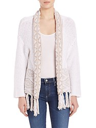 360 Sweater Archer Embroidered Cardigan White Almond